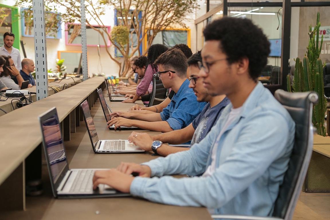 Funcionários trabalhando e jabuticabeira ao fundo da imagem